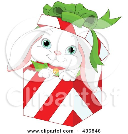 Royalty-Free (RF) Clipart Illustration of a White Rabbit In A Red And White Striped Christmas Gift Box by Pushkin