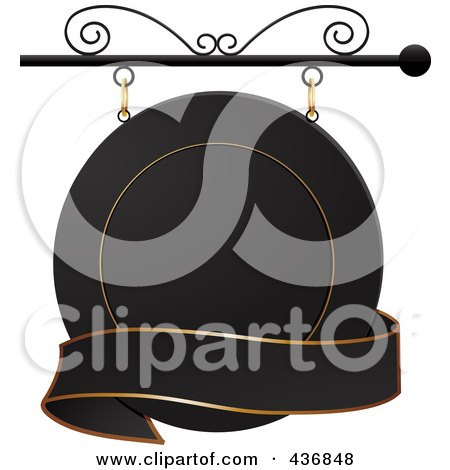 Royalty-Free (RF) Clipart Illustration of a Round Black And Gold Shingle Sign With A Blank Banner by elaineitalia