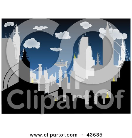 Clipart Illustration of a Crowded Gray And Black Silhouetted City Skyline Against A Dark Blue Cloudy Sky by mheld