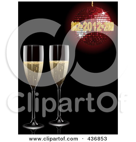 preview clipart two champagne glasses under a red new year disco ball on black