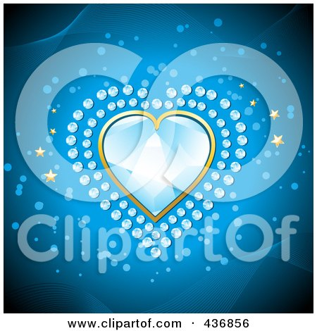 Royalty-Free (RF) Clipart Illustration of a Blue Diamond Heart With Smaller Diamonds And Gold Stars On Blue by elaineitalia