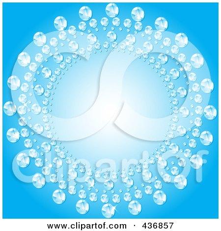 Royalty-Free (RF) Clipart Illustration of a Circular Diamond Frame Over Blue by elaineitalia