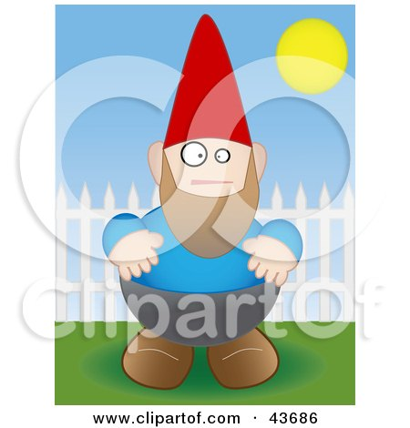 Clipart Illustration of a Chubby Garden Gnome By A Picket Fence by mheld