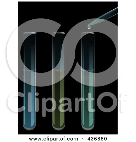 Royalty-Free (RF) Clipart Illustration of Three Test Tubes And A Dropper Over Black by elaineitalia