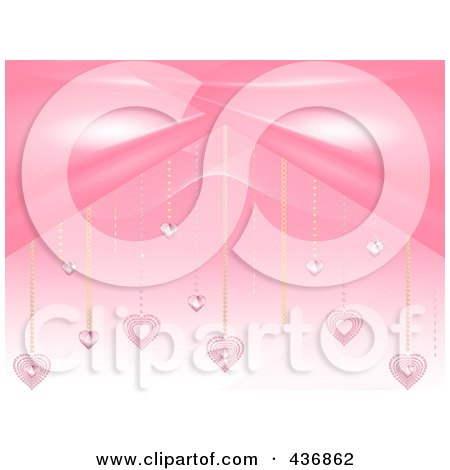 Royalty-Free (RF) Clipart Illustration of a Pink Valentine Background Of Heart Diamonds Suspended by elaineitalia