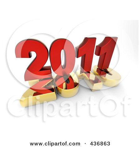 Royalty-Free (RF) Clipart Illustration of a 3d Red 2011 On Top Of A Gold 2010 Over Shaded White by chrisroll