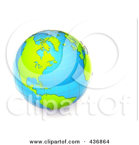 Royalty-Free (RF) Clipart Illustration of a 3d Shiny Blue And Green Grid Globe by chrisroll