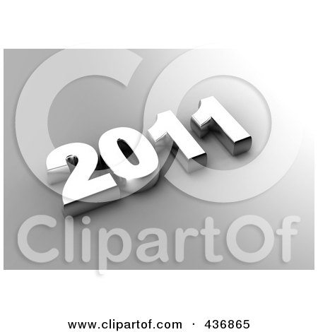 Royalty-Free (RF) Clipart Illustration of a 3d 2011 In Silver Over Gray by chrisroll