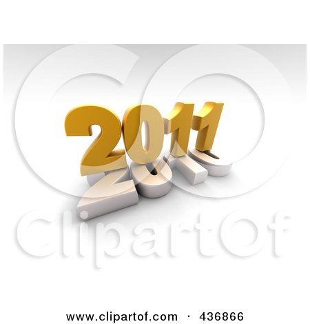 Royalty-Free (RF) Clipart Illustration of a 3d 2011 On Top Of 2010 Over Shaded White by chrisroll