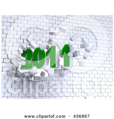 Royalty-Free (RF) Clipart Illustration of a 3d 2011 Breaking Through A Brick Wall by chrisroll