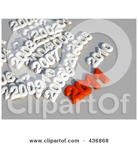 Royalty-Free (RF) Clipart Illustration of a 3d Red 2011 With Other Years Over Gray by chrisroll