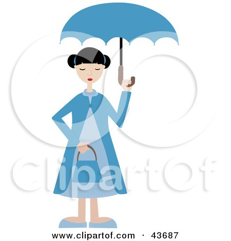 Clipart Illustration of a Woman In Blue, Holding An Umbrella Over Her Head by mheld