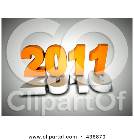 Royalty-Free (RF) Clipart Illustration of a 3d Orange 2011 On Top Of A White 2010 Over Gray by chrisroll