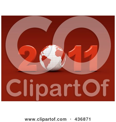 Royalty-Free (RF) Clipart Illustration of a 3d Globe In 2011 Over Red by chrisroll