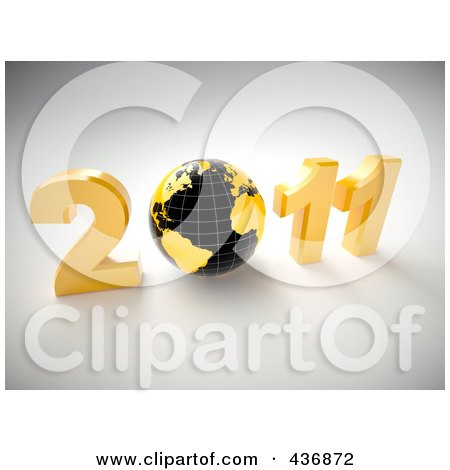 Royalty-Free (RF) Clipart Illustration of a 3d Globe In 2011 Over Gray by chrisroll