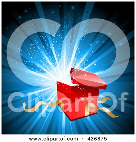 Royalty-Free (RF) Clipart Illustration of a Red Gift Box Bursting Open Over Blue by KJ Pargeter