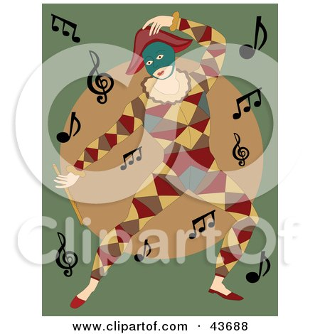 Clipart Illustration of a Dancing Mime In A Colorful Costume With Music Notes by mheld