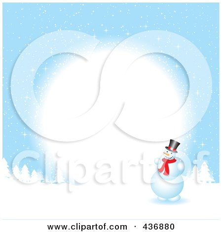 Royalty-Free (RF) Clipart Illustration of a Snowman Background With Snow And A White Circle by KJ Pargeter