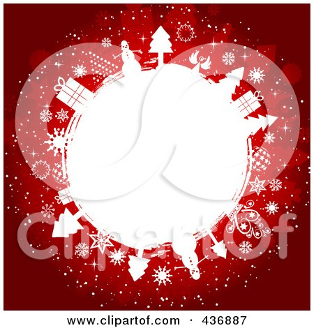 Royalty-Free (RF) Clipart Illustration of a Red Christmas Background With A White Circle Of Gifts, Trees And Snowflakes by KJ Pargeter