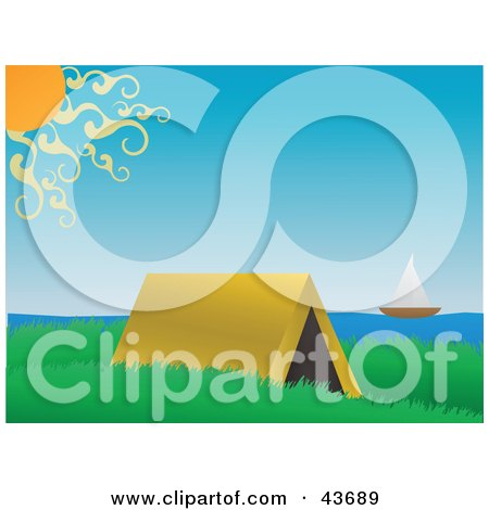 Clipart Illustration of a Tent In A Grassy Meadow Near The Coast, A Sailboat On The Water by mheld