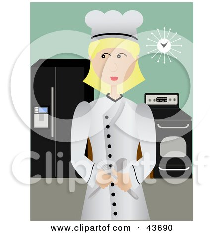 Clipart Illustration of a Professional Female Chef Standing Proudly In Her Kitchen by mheld