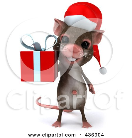 Royalty-Free (RF) Clipart Illustration of a 3d Christmas Mouse Carrying A Gift Box - 1 by Julos