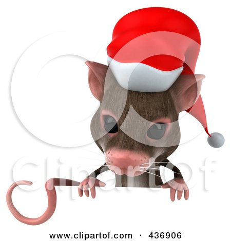 Royalty-Free (RF) Clipart Illustration of a 3d Christmas Mouse With A Sign - 1 by Julos