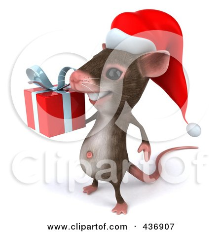 Royalty-Free (RF) Clipart Illustration of a 3d Christmas Mouse Carrying A Gift Box - 2 by Julos