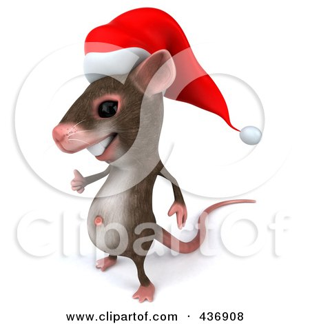 Royalty-Free (RF) Clipart Illustration of a 3d Christmas Mouse Facing Left And Holding A Thumb Up by Julos