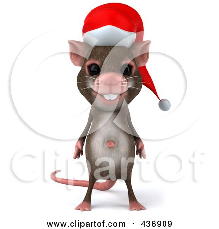 Royalty-Free (RF) Clipart Illustration of a 3d Christmas Mouse Facing Front by Julos