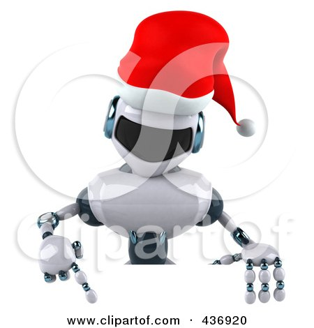 Royalty-Free (RF) Clipart Illustration of a 3d Christmas Techno Robot Character With A Sign - 1 by Julos
