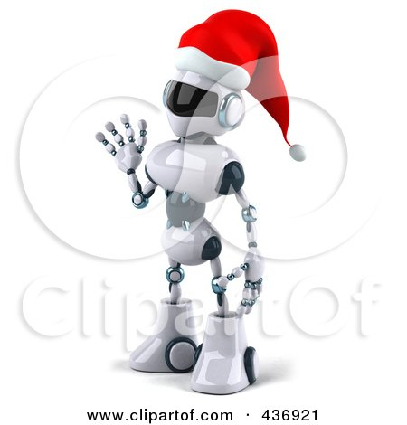 Royalty-Free (RF) Clipart Illustration of a 3d Christmas Techno Robot Character Facing Left And Waving by Julos