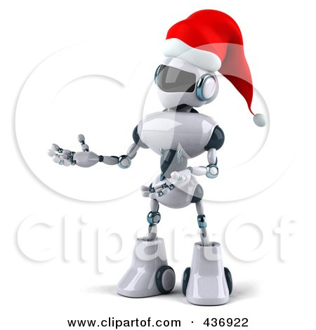 Royalty-Free (RF) Clipart Illustration of a 3d Christmas Techno Robot Character Facing Left And Gesturing by Julos