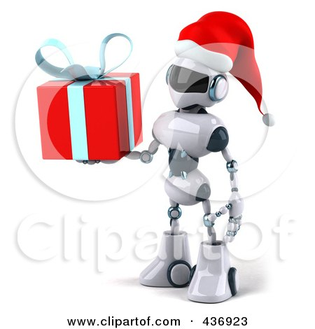 Royalty-Free (RF) Clipart Illustration of a 3d Christmas Techno Robot Character Carrying A Gift Box - 1 by Julos