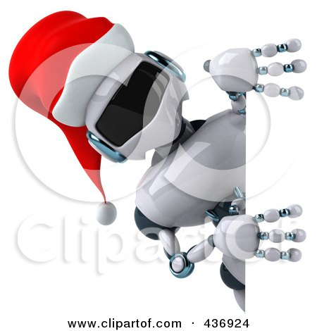 Royalty-Free (RF) Clipart Illustration of a 3d Christmas Techno Robot Character With A Sign - 2 by Julos