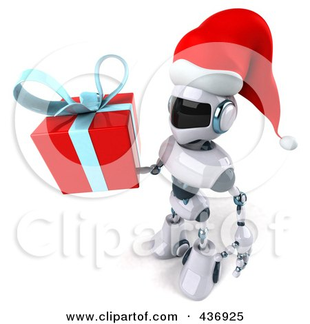 Royalty-Free (RF) Clipart Illustration of a 3d Christmas Techno Robot Character Carrying A Gift Box - 2 by Julos