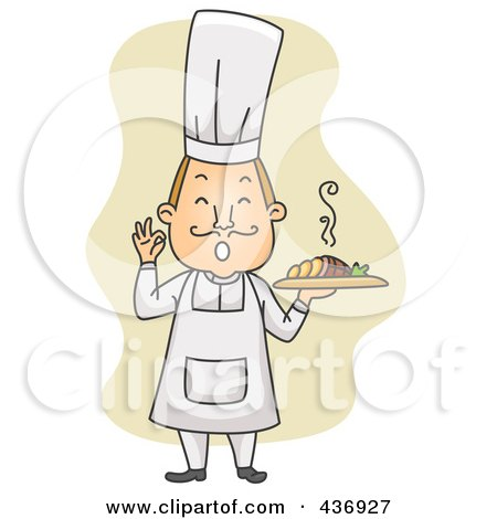 Royalty-Free (RF) Clipart Illustration of a Happy Cher Holding A Plate And Gesturing OK Over Tan by BNP Design Studio