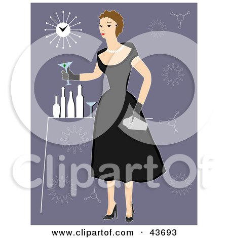 Clipart Illustration of a Fifties Woman In A Black Dress, Holding A Cocktail At A Party by mheld