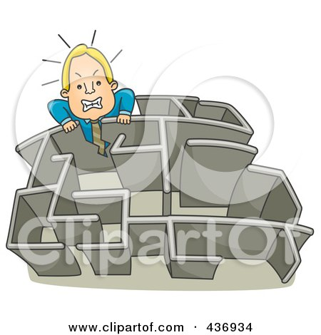 Royalty-Free (RF) Clipart Illustration of a Businessman Climbing Over A Wall In A Maze - 1 by BNP Design Studio
