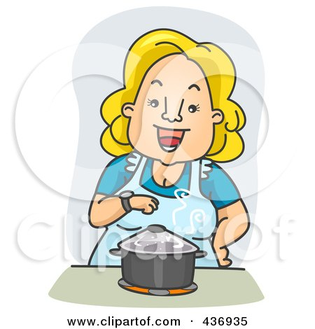Royalty-Free (RF) Clipart Illustration of a Happy Woman Standing Over A Pot On A Stove by BNP Design Studio