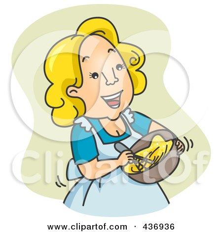 Royalty-Free (RF) Clipart Illustration of a Happy Woman Beating Eggs Over Green by BNP Design Studio