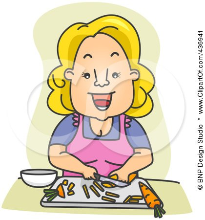 Royalty-Free (RF) Clipart Illustration of a Happy Woman Slicing Carrots by BNP Design Studio