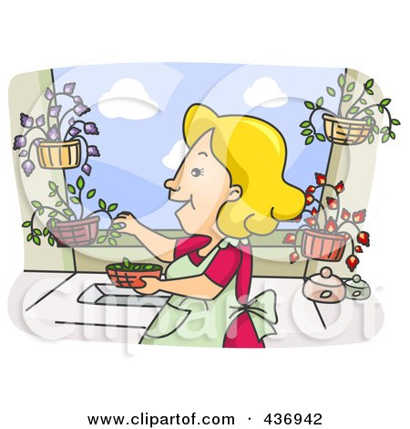 Royalty-Free (RF) Clipart Illustration of a Happy Woman Picking Herbs From Her Garden by BNP Design Studio
