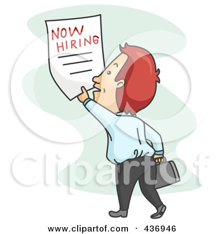 Royalty-Free (RF) Clipart Illustration of a Job Seeker Grabbing A Now Wanted Poster by BNP Design Studio