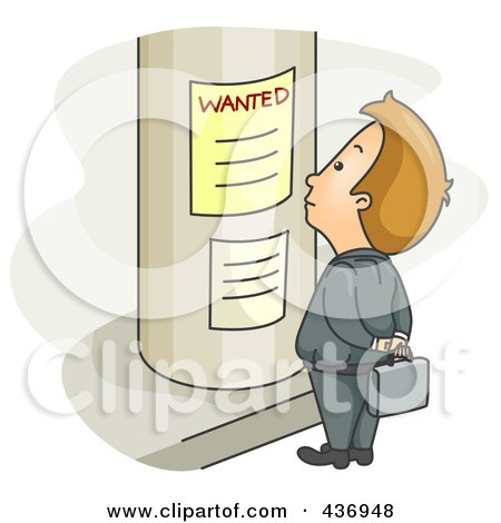 Royalty-Free (RF) Clipart Illustration of a Businessman Looking For A Job On A Poster by BNP Design Studio