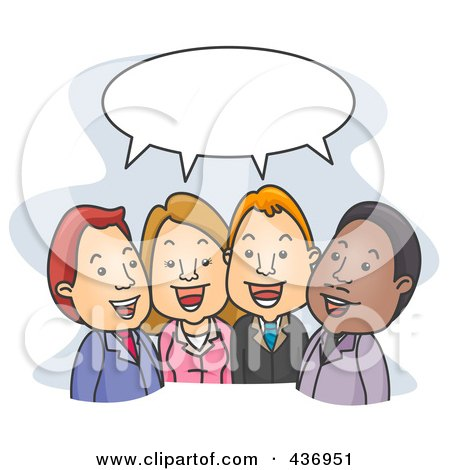 Royalty-Free (RF) Clipart Illustration of Business People Talking Under A Word Balloon by BNP Design Studio