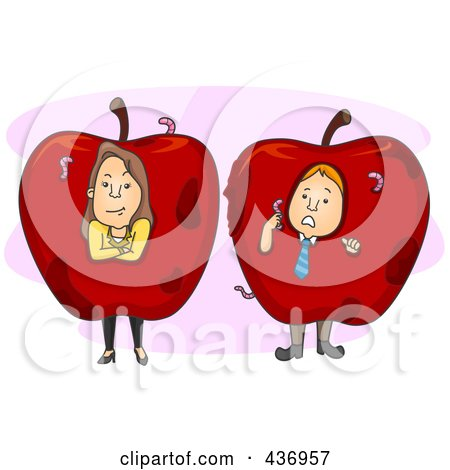 Royalty-Free (RF) Clipart Illustration of Bad Apple Employees Over Pink by BNP Design Studio