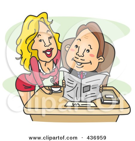 Royalty-Free (RF) Clipart Illustration of a Sexy Secretary Leaning Over A Desk And Smiling At Her Boss by BNP Design Studio