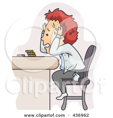 Royalty-Free (RF) Clipart Illustration of a Stressed Man Worried About Money Problems by BNP Design Studio