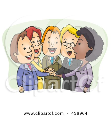 Royalty-Free (RF) Clipart Illustration of a Team Of Business People With Their Hands All In by BNP Design Studio